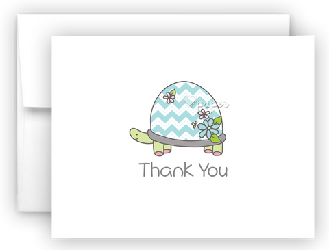 Blue Turtle Thank You Cards Note Card Stationery •  Flat or Folded Stationery Thank You Cards - Everything Nice