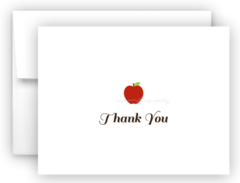 Apple Thank You Cards Note Card Stationery •  Flat, Folded or Fill-In-the-Blank Stationery Thank You Cards - Everything Nice