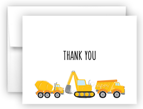 Construction Thank You Cards Note Card Stationery •  Flat or Folded Stationery Thank You Cards - Everything Nice