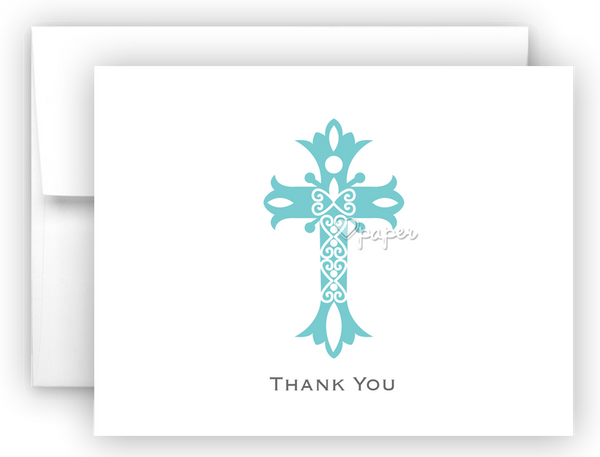 Cross Thank You Cards Note Card Stationery •  Flat, Folded or Fill-In-the-Blank