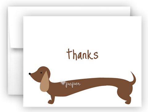 Dachshund Dog Thank You Cards Note Card Stationery •  Flat, Folded or Fill-In-the-Blank Stationery Thank You Cards - Everything Nice