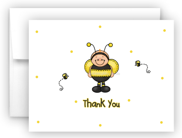 Ba-Bee Bumble Bee Printed Thank You Cards • Folded Flat Card Notecard Stationery