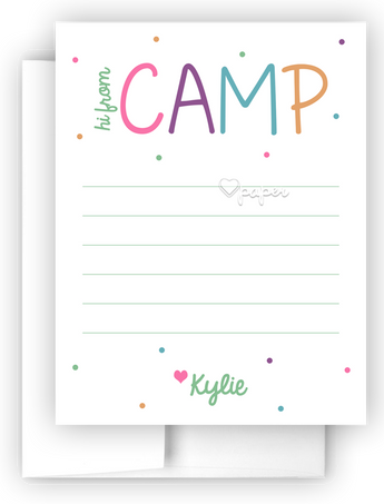 Hi from Camp Polka Dots Thank You Cards Note Card Stationery •  Flat, Folded or Fill-In-the-Blank Stationery Thank You Cards - Everything Nice