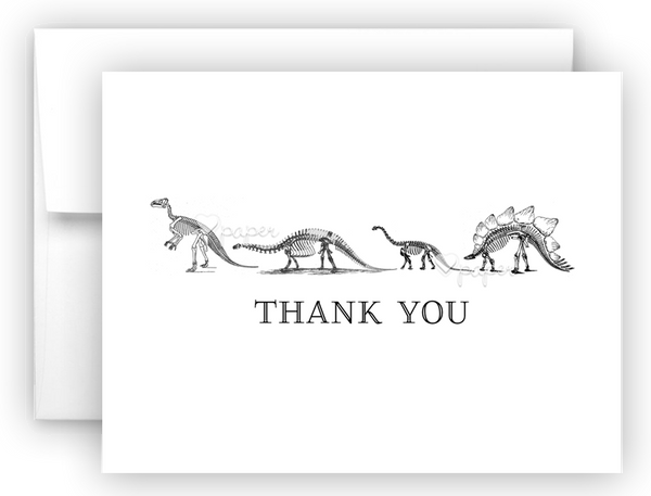Dinosaur Skeleton Bones Thank You Cards Note Card Stationery •  Flat, Folded or Fill-In-the-Blank Stationery Thank You Cards - Everything Nice