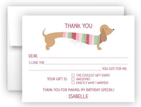 Dachshund Dog Thank You Cards Note Card Stationery •  Flat, Folded or Fill-In-the-Blank