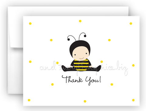 Baby Bumble Bee Printed Thank You Cards • Folded Flat Card Notecard Stationery
