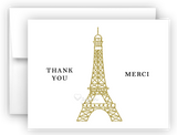 Gold Eiffel Tower Thank You Cards Note Card Stationery •  Flat, Folded or Fill-In-the-Blank Stationery Thank You Cards - Everything Nice
