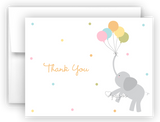 Elephant with Balloons Thank You Cards Note Card Stationery •  Flat, Folded or Fill-In-the-Blank