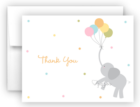 Elephant with Balloons Thank You Cards Note Card Stationery •  Flat or Folded Stationery Thank You Cards - Everything Nice