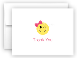 Bow Emoji Thank You Cards Note Card Stationery •  Flat, Folded or Fill-In-the-Blank Stationery Thank You Cards - Everything Nice