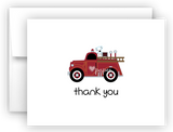 FIretruck Fire Truck Printed Thank You Cards • Folded Flat Note Card Stationery