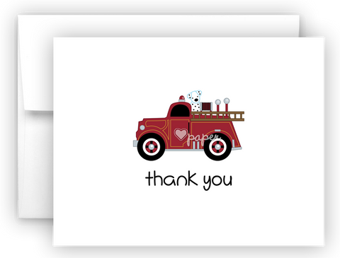 FIretruck Fire Truck Printed Thank You Cards • Folded Flat Note Card Stationery Stationery Thank You Cards - Everything Nice