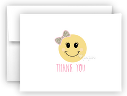 Bow Emoji II Thank You Cards Note Card Stationery •  Flat, Folded or Fill-In-the-Blank Stationery Thank You Cards - Everything Nice
