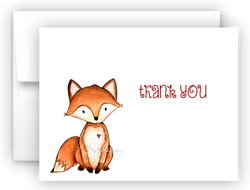 Fox Thank You Cards Note Card Stationery •  Flat, Folded or Fill-In-the-Blank