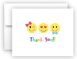 Emojis Thank You Cards Note Card Stationery •  Flat, Folded or Fill-In-the-Blank