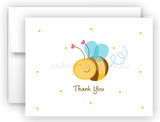 Cute Bumble Bee Printed Thank You Cards • Folded Flat Note Card Stationery Stationery Thank You Cards - Everything Nice