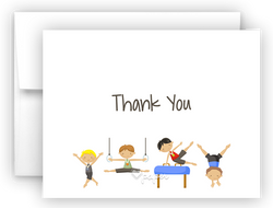 Gymnastics Thank You Cards Note Card Stationery •  Flat, Folded or Fill-In-the-Blank Stationery Thank You Cards - Everything Nice