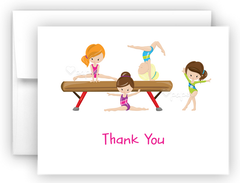 Gymnastics Thank You Cards Note Card Stationery •  Flat, Folded or Fill-In-the-Blank