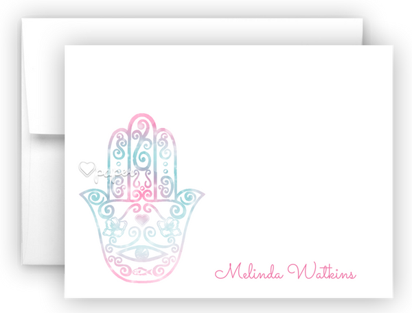 Hamsa Thank You Cards Note Card Stationery •  Flat, Folded or Fill-In-the-Blank Stationery Thank You Cards - Everything Nice