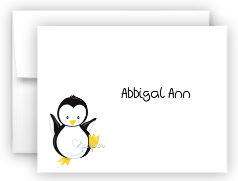 Penguin Thank You Cards Note Card Stationery •  Flat or Folded Stationery Thank You Cards - Everything Nice