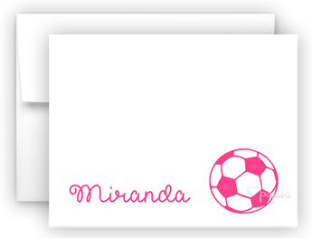 Hot Pink Soccer Ball Thank You Cards Note Card Stationery •  Flat or Folded Stationery Thank You Cards - Everything Nice