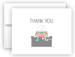 Humpty Dumpty Nursery Rhyme Printed Thank You Cards • Folded Flat Note Card Stationery Stationery Thank You Cards - Everything Nice