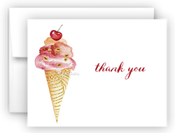 Ice Cream Thank You Cards Note Card Stationery •  Flat, Folded or Fill-In-the-Blank Stationery Thank You Cards - Everything Nice