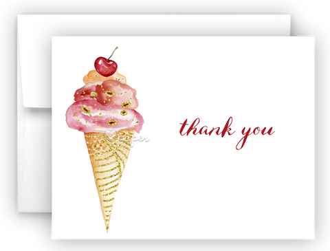 Ice Cream Thank You Cards Note Card Stationery •  Flat or Folded Stationery Thank You Cards - Everything Nice