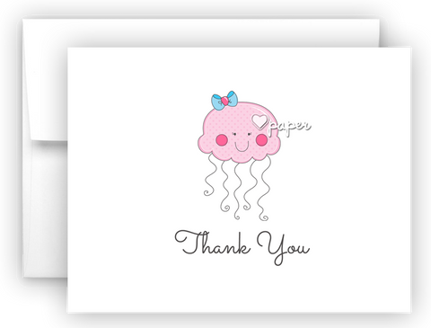 Jellyfish Thank You Cards Note Card Stationery •  Flat or Folded Stationery Thank You Cards - Everything Nice