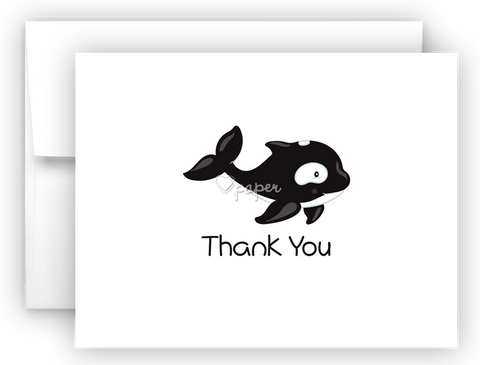 Whale Thank You Cards Note Card Stationery •  Flat or Folded Stationery Thank You Cards - Everything Nice