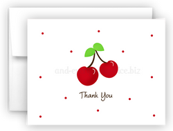 Cherry Thank You Cards Note Card Stationery •  Flat, Folded or Fill-In-the-Blank Stationery Thank You Cards - Everything Nice
