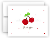 Cherry Thank You Cards Note Card Stationery •  Flat or Folded Stationery Thank You Cards - Everything Nice