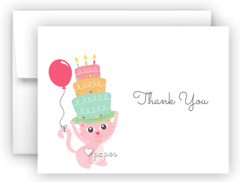 Pink Cat Birthday Cake Thank You Cards Note Card Stationery Flat