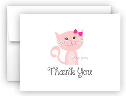 Pink Cat Thank You Cards Note Card Stationery •  Flat, Folded or Fill-In-the-Blank