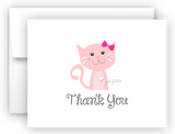 Pink Cat Thank You Cards Note Card Stationery •  Flat or Folded Stationery Thank You Cards - Everything Nice
