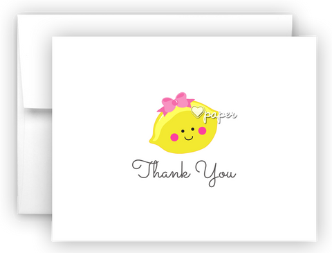 Girl Lemon Thank You Cards Note Card Stationery •  Flat or Folded Stationery Thank You Cards - Everything Nice