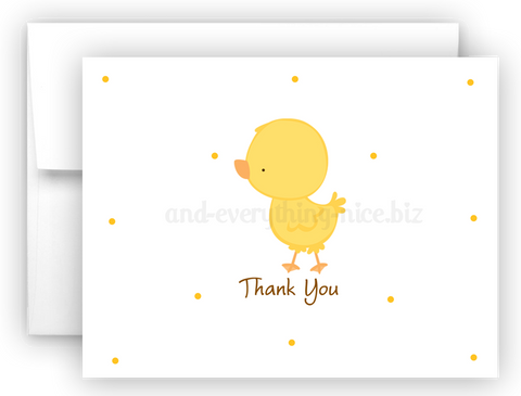 Duck Chick Thank You Cards Note Card Stationery •  Flat, Folded or Fill-In-the-Blank Stationery Thank You Cards - Everything Nice