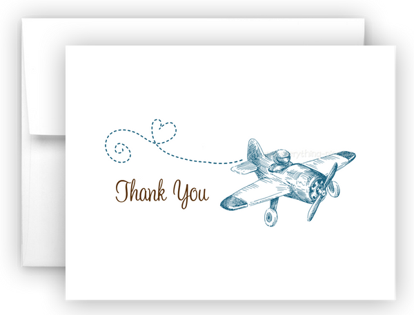 Vintage Airplane Printed Thank You Cards • Folded Flat Note Card Stationery