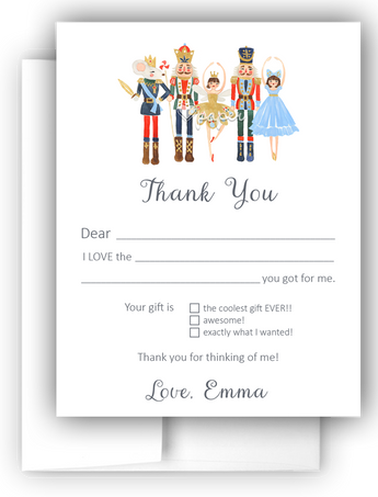 Nutcracker Thank You Cards Note Card Stationery •  Fill In the Blank Stationery Thank You Cards - Everything Nice