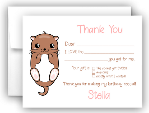 Otter Thank You Cards Note Card Stationery •  Fill In the Blank Stationery Thank You Cards - Everything Nice