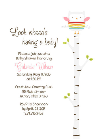Owl Party Invitation • Baby Shower Birthday • Any Colors