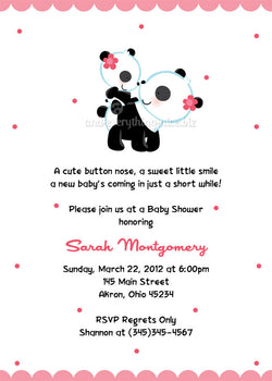 Panda Bear Party Invitation • Baby Shower Birthday • Any Colors Baby Shower Invitations - Everything Nice