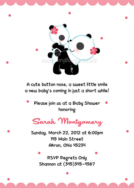 Panda Bear Baby Shower Invitation • Any Colors Baby Shower Invitations - Everything Nice