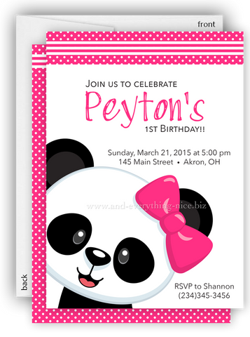Hot Pink Panda Bear Party Invitation • Baby Shower Birthday • Any Colors