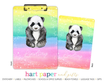 Rainbow Panda Bear Personalized Clipboard School & Office Supplies - Everything Nice