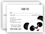 Panda Bear Thank You Cards Note Card Stationery •  Fill In the Blank Stationery Thank You Cards - Everything Nice