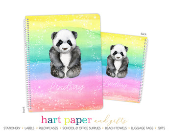 Rainbow Panda Bear Personalized Notebook or Sketchbook School & Office Supplies - Everything Nice