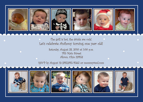 12 Months Collage Photo Birthday Party Invitation Any Colors