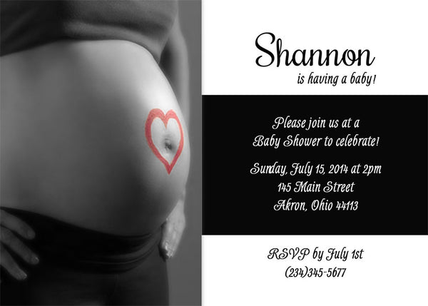 Belly Love Photo Baby Shower Invitation • Any Colors Baby Shower Photo Invitations - Everything Nice