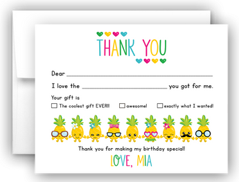 Pineapple Thank You Cards Note Card Stationery •  Fill In the Blank Stationery Thank You Cards - Everything Nice